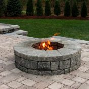 Circular fire pit and patio.