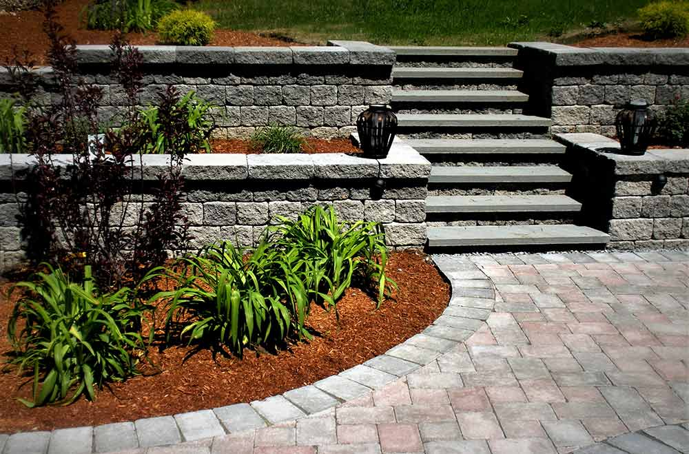 Retaining wall and steps in back yard.