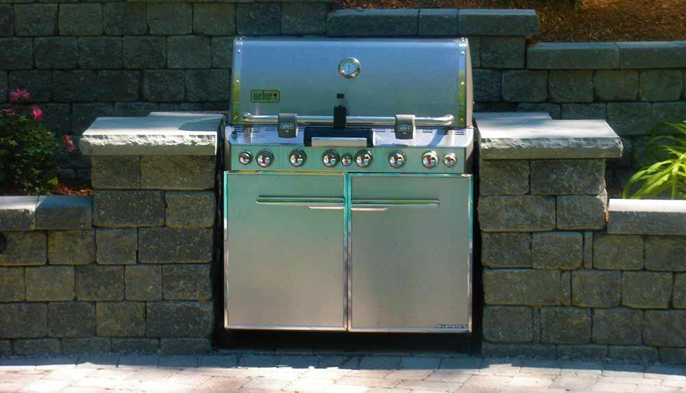 Custom designed built-in outdoor grill.