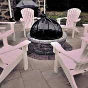 firepit and adirondack chairs
