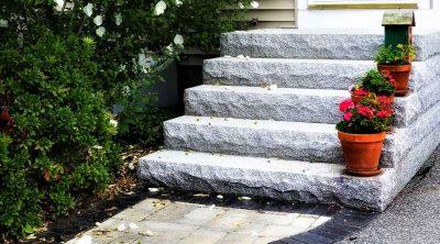Granite steps outside back door.