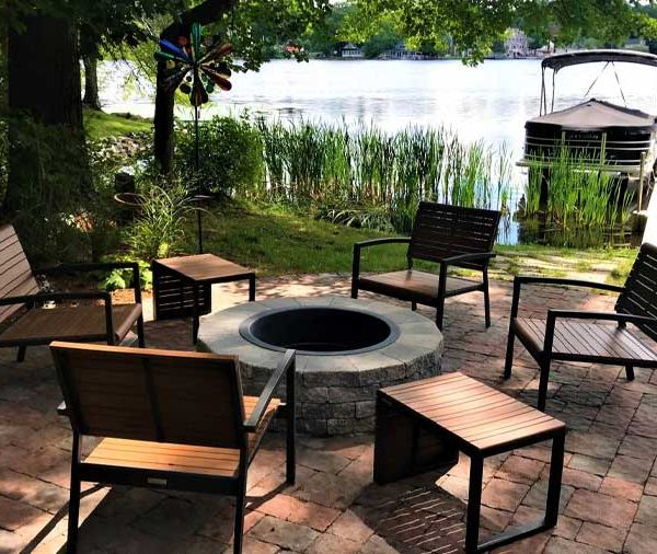 firepit and patio lakeside