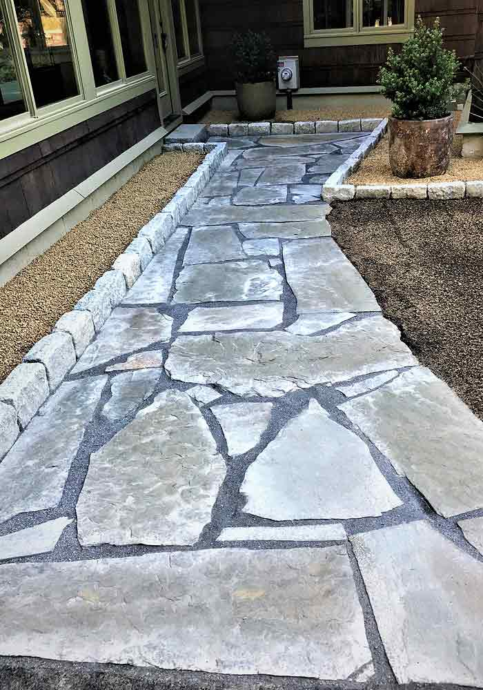 Custom stone hardscape walkway.