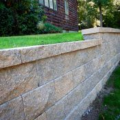modular block retaining wall in side yard