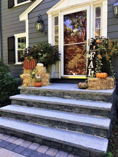 Outdoor veneer stone steps and granite treads.
