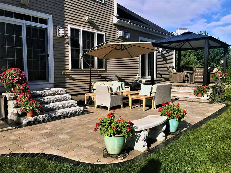 Back yard patio and steps hardscape solutions.