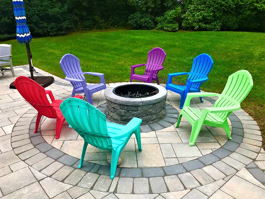 Fire pit and circular patio hardscape ideas.