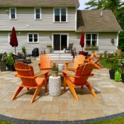 back yard solutions paver patio with natural stone fire pit for entertaining